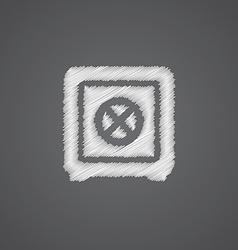 Bank safe sketch logo doodle icon vector