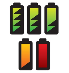 batteries with different charge levels vector image vector image