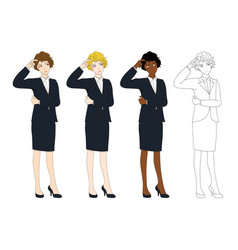 Business woman thinking scratching head vector