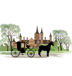 Carriage with horse old castle view city park vector