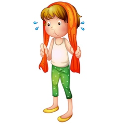 Cartoon sweaty girl vector