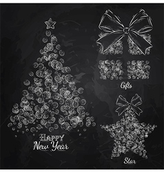Christma mugs chalk vector image