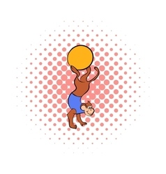 Circus monkey on the ball comics icon vector