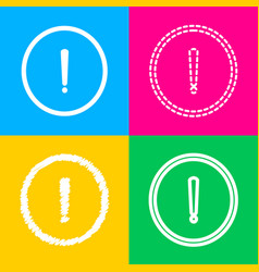 exclamation mark sign four styles of icon on four vector image vector image