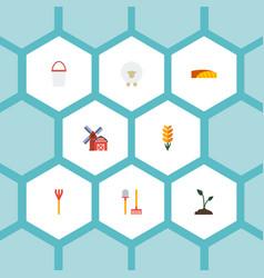 Flat icons landscape pail grain elements vector