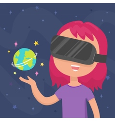 Girl in a virtual reality glasses vector