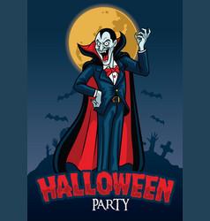 halloween design of vampire with graveyard vector image vector image