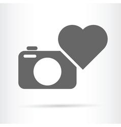 Heart camera icon vector