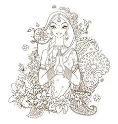 Indian girl surrounded with flowers and ornaments vector