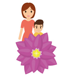 Mother and son love flower vector