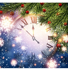 New year clock with snowy background vector
