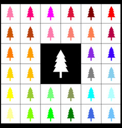New year tree sign felt-pen 33 colorful vector