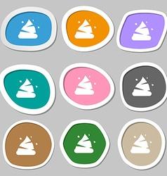 Poo icon symbols multicolored paper stickers vector