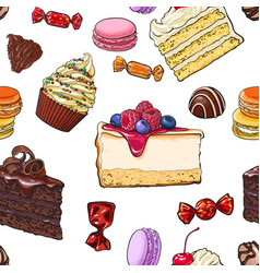 Seamless pattern of hand drawn cakes candies vector