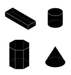 set of basic geometric shapes geometric solids vector image