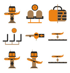 Set of icons in flat design for airport vector