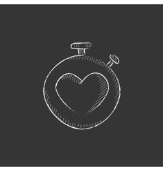 Stopwatch with heart sign drawn in chalk icon vector