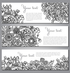 Three templates with beautiful monochrome floral vector image