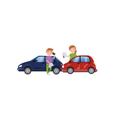 two cars involved in a car wreck auto insurance vector image