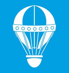 Vintage hot air balloon icon white vector