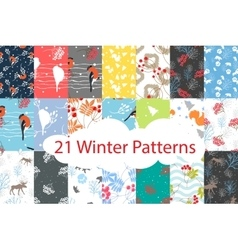 Winter seamless pattern bundle set vector