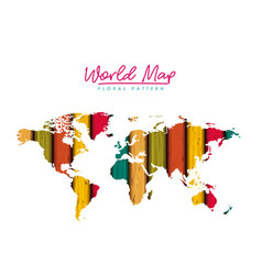 World map floral pattern with colored lines on vector
