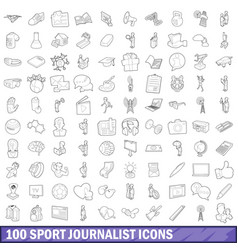 100 sport journalist icons set outline style vector