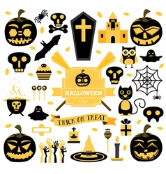 Halloween Set Pumpkin Skull Ghost Candy Cat vector image