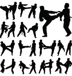 taekwondo woman silhouette vector image