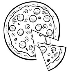 Doodle pizza vector