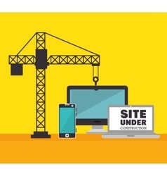 Technology site under construction crane icon vector