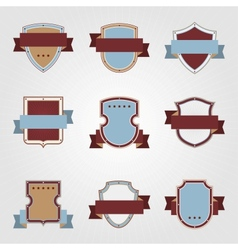 Vintage heraldry shields and ribbons retro style vector