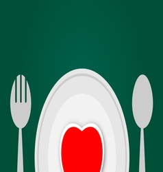 Plate with red heart vector image