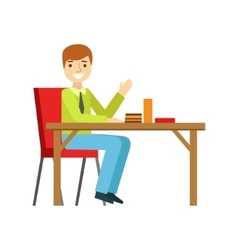 Man alone at the table eating cake smiling person vector
