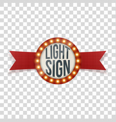 Retro circle light sign with red ribbon vector