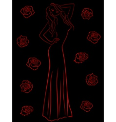 Stylish woman in a long gown among roses over vector