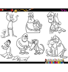 People with pets coloring page vector
