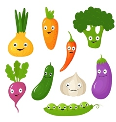 Funny various cartoon vegetables vector
