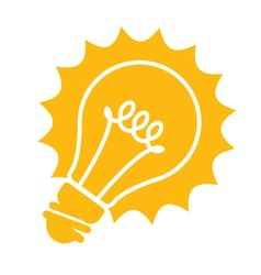 Glowing light bulb icon - idea concept vector