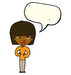 Cartoon woman gesturing at herself with speech vector