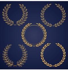 set of golden laurel wreaths vector image