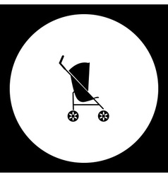 Simple black sport stroller for baby cradle icon vector