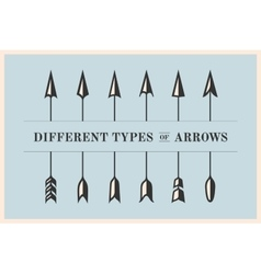 Design elements different types of arrows in retro vector image