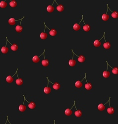 Seamless pattern with cherries on black vector image