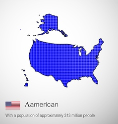 Aamerican map blue pen to write vector