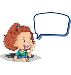 Girl holding speech bubble vector