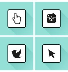 Social media icons set photo or camera bird vector