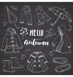 Autumn season clothes set hand drawn doodles and vector