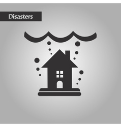 Black and white style flood house vector