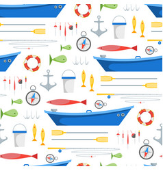 Cartoon fishing background pattern vector